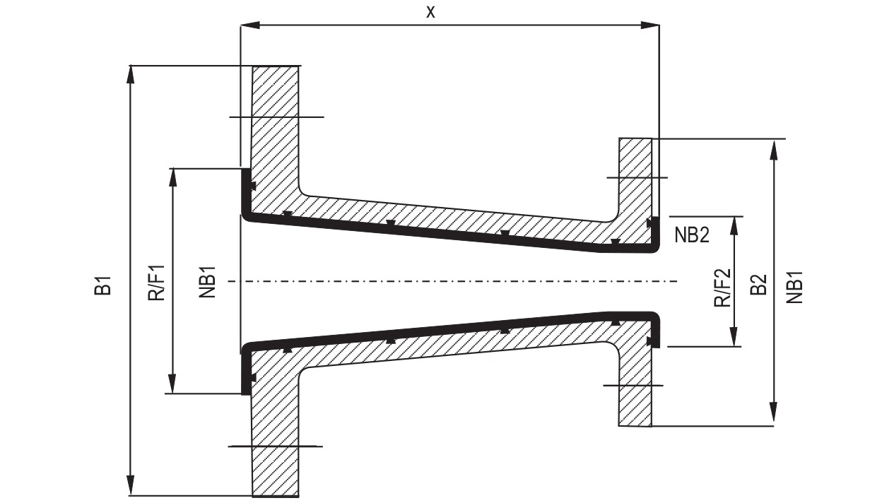 Lined Concentric Reducers diagram