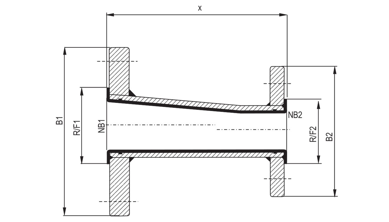 Lined Eccentric Reducers diagram