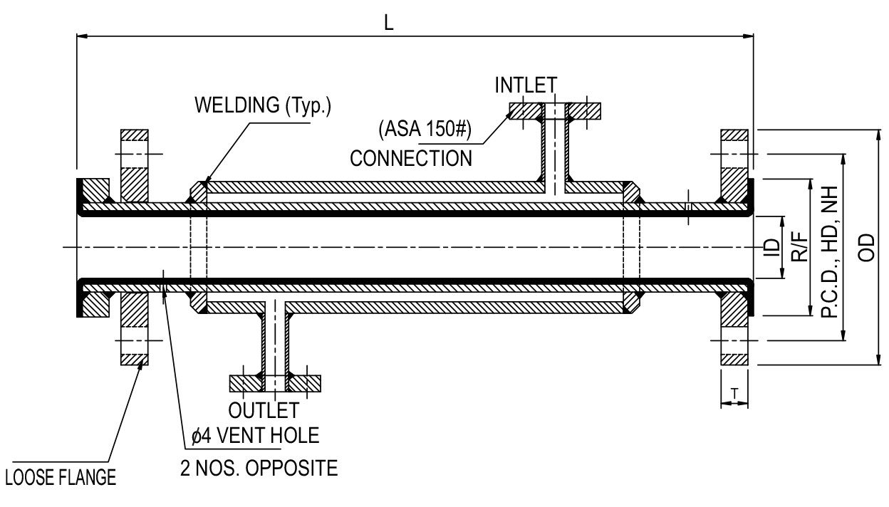 Lined Jacketed Spool Pipe diagram