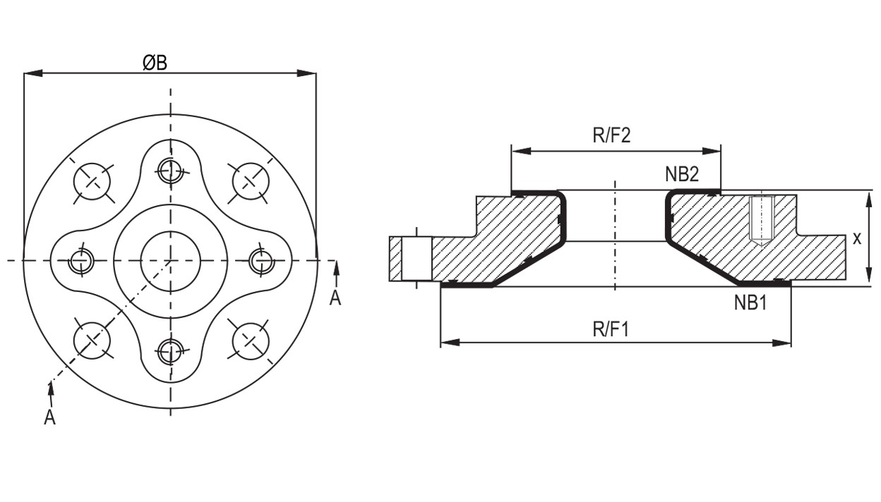 Lined Reducing Flanges diagram