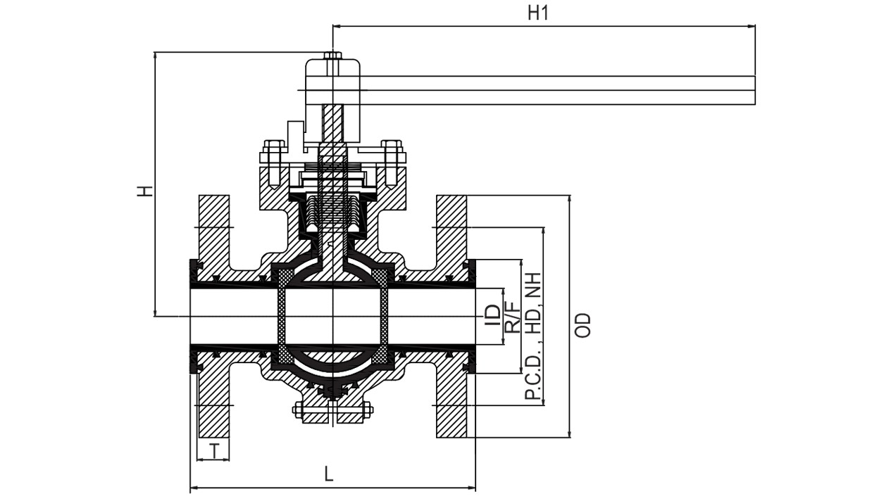 PFA / FEP Lined Ball Valve diagram