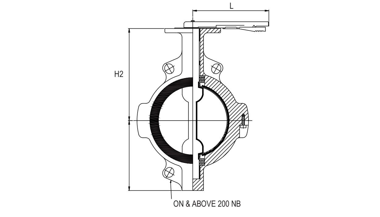 PFA/FEP Lined Butterfly Valve diagram