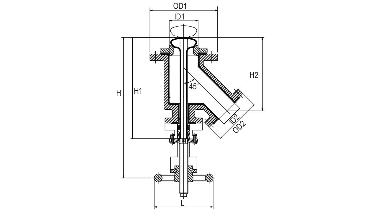 PFA/FEP Lined Flush Bottom Valve diagram