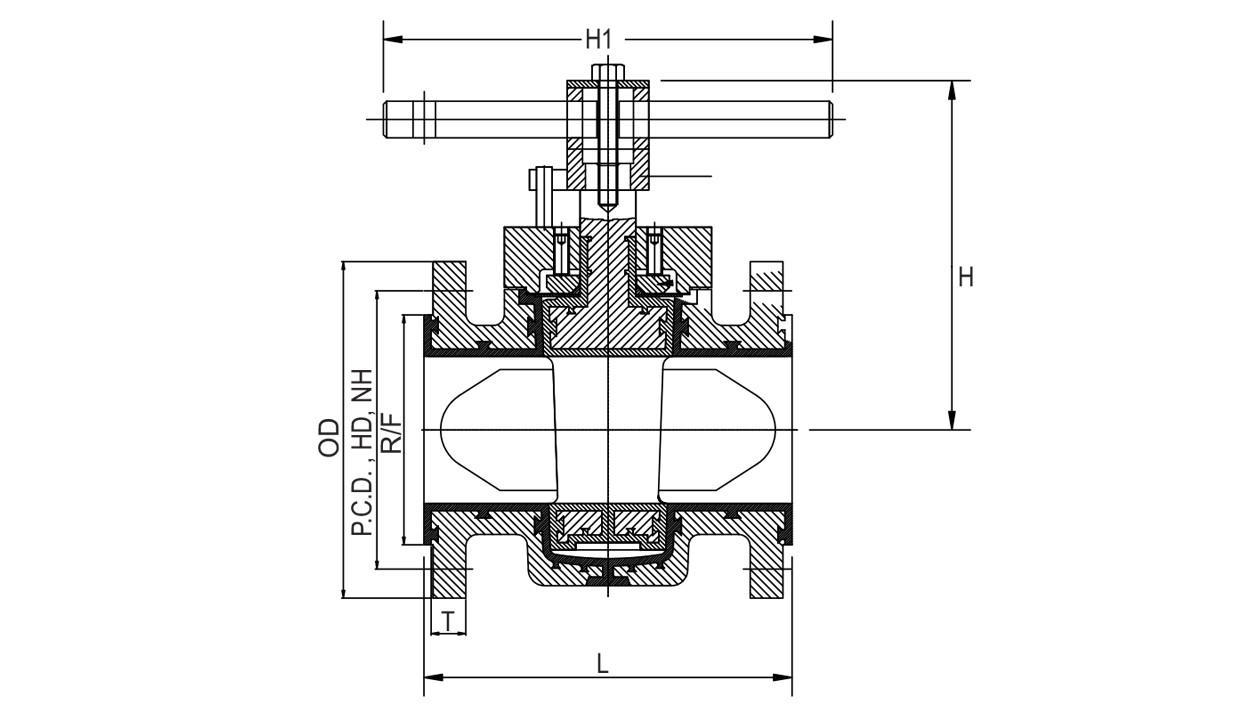 PFA Lined Plug Valves, Teflon Lined Plug Valve, FEP Lined Plug Valves diagram
