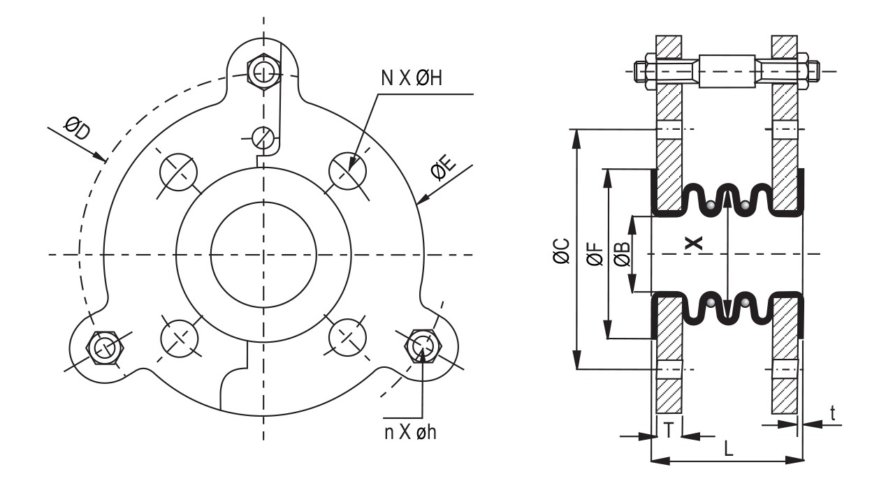 PTFE High Pressure Bellows diagram