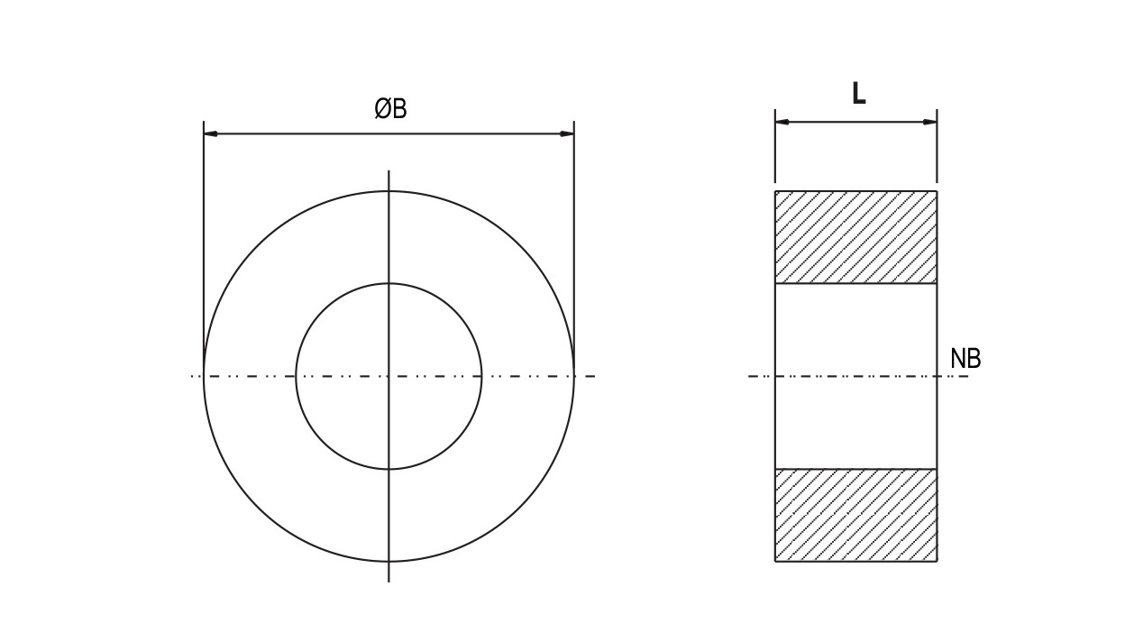 PTFE Solid Type Spacer diagram